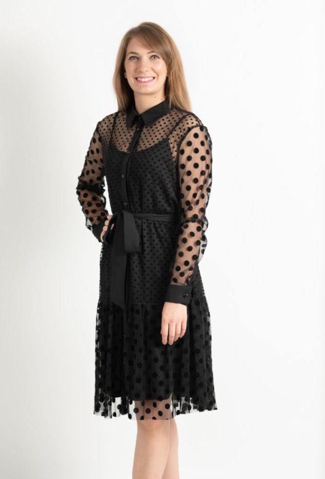 Rochie Eleganta Neagra Cu Buline