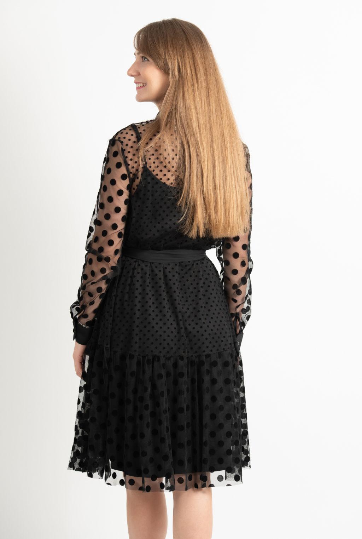 Rochie Eleganta Neagra Cu Buline Spate