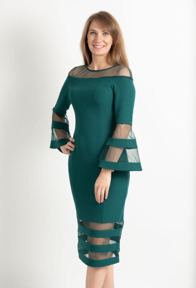 Rochie Eleganta Verde Cu Maneci Clopot