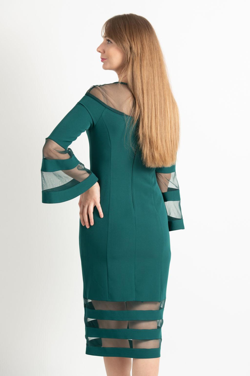 Rochie Eleganta Verde Cu Maneci Clopot Spate