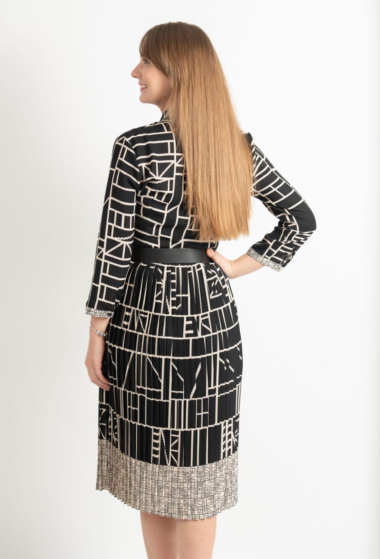 Rochie Plisata Neagra Cu Imprimeu Si Centura Spate