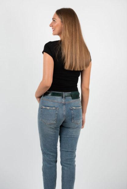 Blugi Albastri Girlfriend Replus Cu Centura Spate