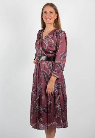 Rochie Midi Visinie Cu Imprimeu Si Centura