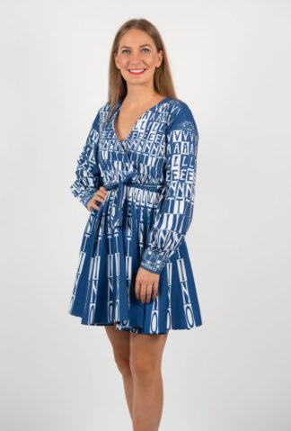 Rochie Mini In Clos Albastra Cu Cordon