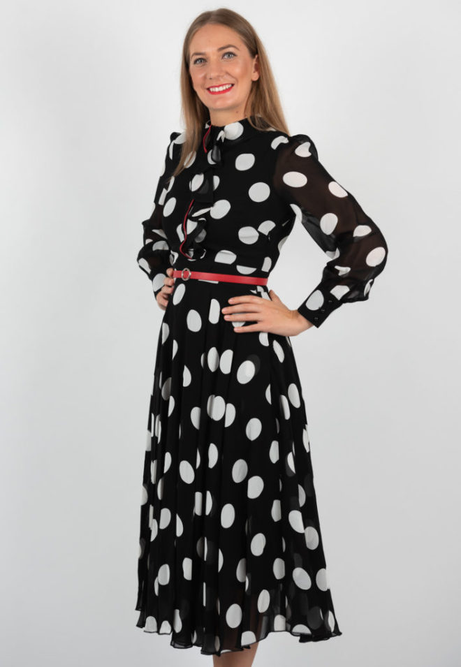 Rochie Neagra Eleganta Cu Buline Si Centura Rosie