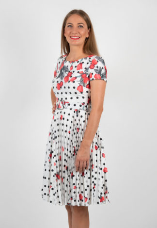 Rochie Plisata Din Bumbac Satinat Alba Cu Imprimeu Floral