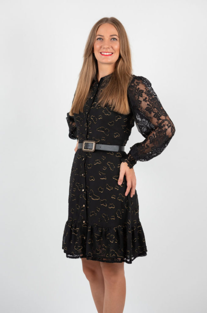 Rochie Scurta Neagra Eleganta Cu Volanase