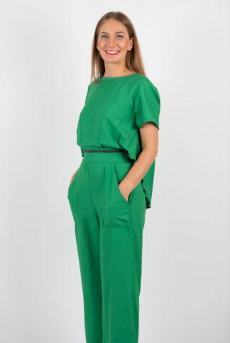 Salopeta Verde Cu Pantalon Larg