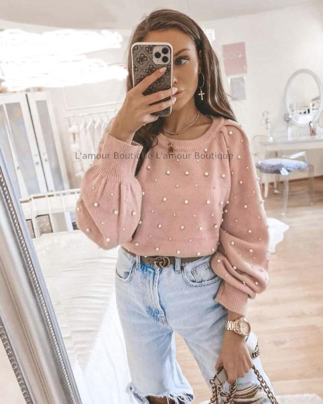 Bluza Tricotata Cu Perle Aplicate