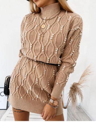 Pulovar Tricotat Cu Perle Aplicate Fata